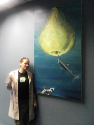 Jennifer Allen With Pear and Shark Painting | by Frank Gruber