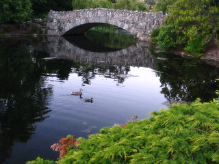 Bridge over calm waters with ducks | by Tracy O