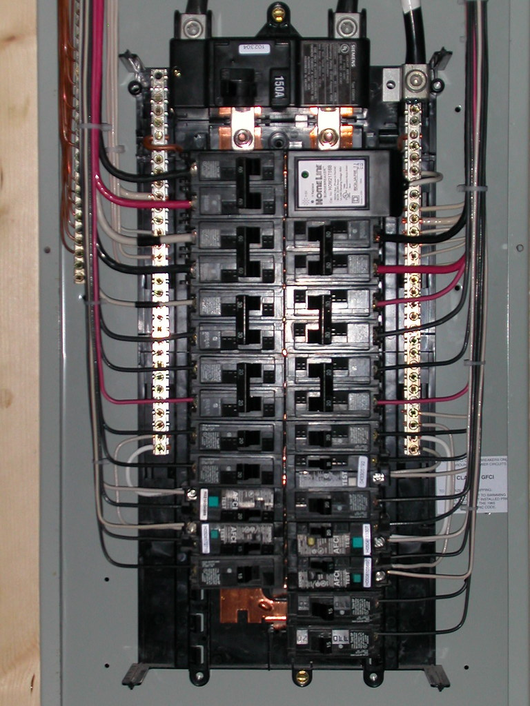 Electrical closeup Siemens 30 40 150A Main Breaker panel