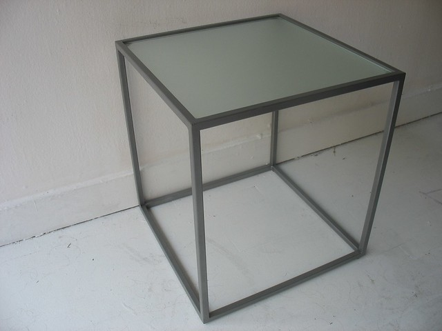Glass Top Cube Table Metal Cube Frame Frosted Glass