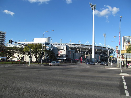 The Gabba, Brisbane, as seen from the intersection of Stanley Street and Main Street