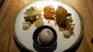 Pistachio Cake with Saffron Poached Pear, Star Anise Meringue, Almond, and Lemon Thyme Sorbet at Transformer