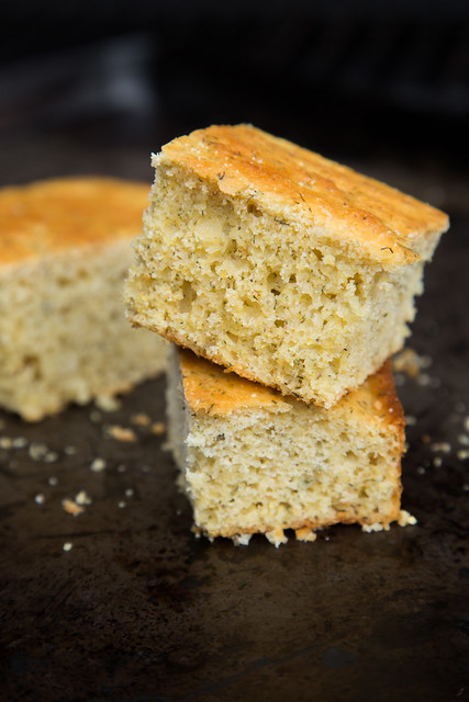 corn bread with dill dip