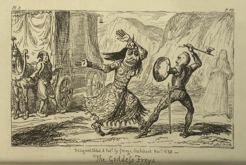 "George Cruikshank - ""The Goddess Freya"" Illustration from ""Letters On Demonology And Witchcraft"" by Walter Scott, 1830"