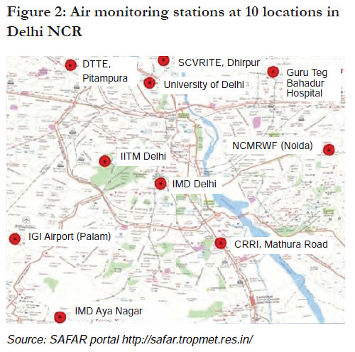 Air monitoring stations at 10 locations in