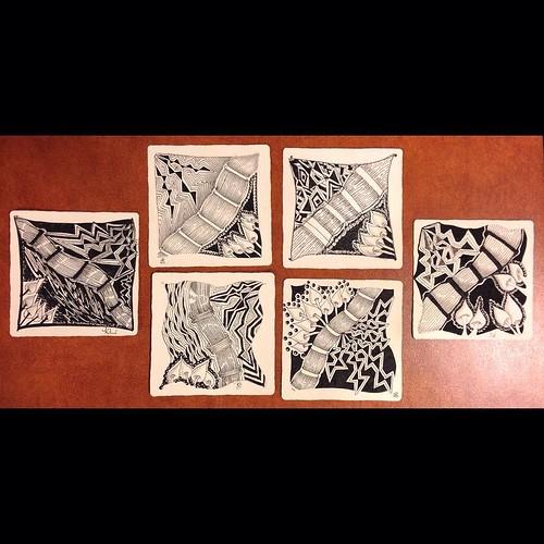 """""""Beyond Basics: Tanglenhancers"""" student tiles"""