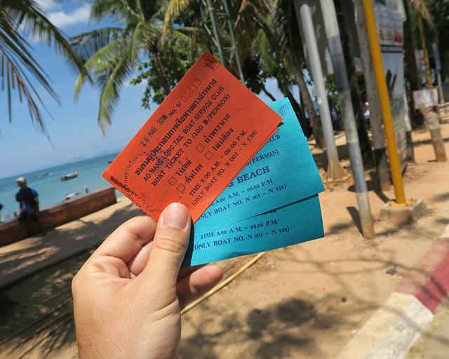 Tickets que hay que sacar en Ao Nang para ir a Railay en taxiboat