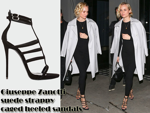 Diane-Kruger-in-Giuseppe-Zanotti-suede-strappy-caged-heeled-sandals