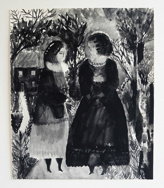 two folk figures in a garden