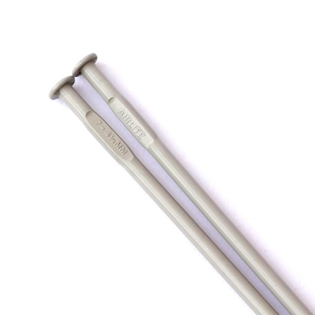 Pair of 4.5mm 25cm vintage Airlite brand metal knitting needles