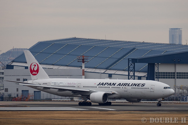 "Itami Airport 2017.1.31 (36) JA010D / JAL's B777-200 with ""Daikin Orchid"" logo (Daikin Orchid Jet)"