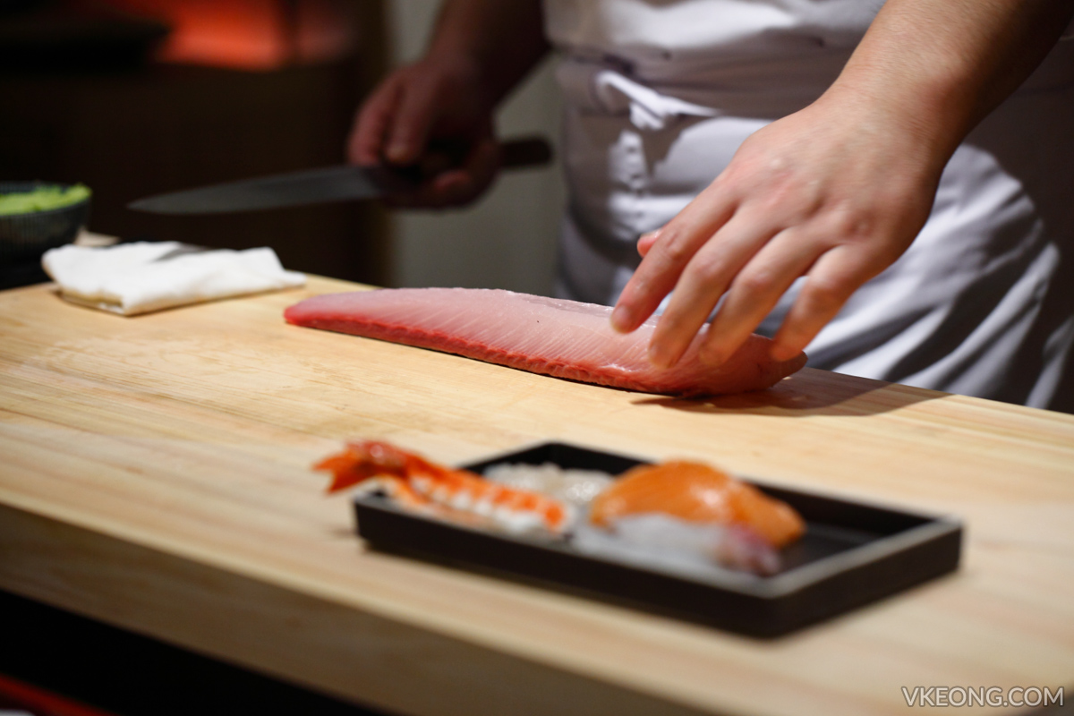 Sushi Azabu Slicing Fish
