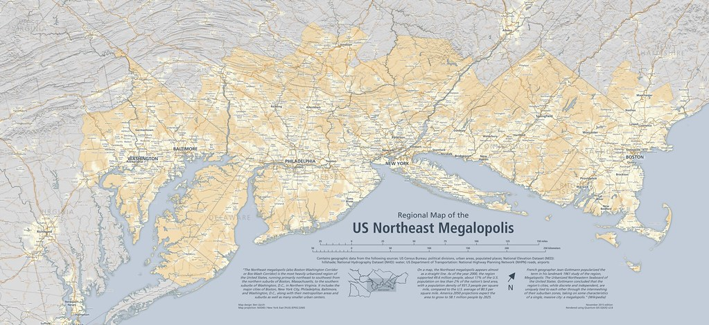 Regional Map Of The US Northeast Megalopolis A Regional Ma Flickr - Us northeast map