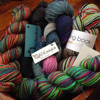 I was tagged by @thereadingknitter for #widn. I have a cold, so I'm going to my happy yarny place and cataloging some new stash (and maybe casting on a new project--or two). I can always count on @yarnhoarder and @swordofaknitter to take me to a happy yar | by Sarah Shoo