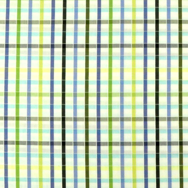 藍黃咖條紋格子 格紋 襯衫服裝布料 FC590250