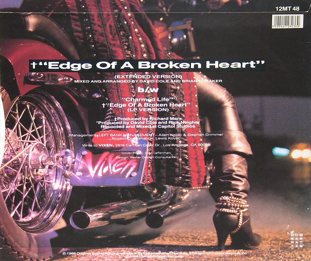 "Vixen Edge of a Broken Heart 12"" Maxi-Single + Poster"