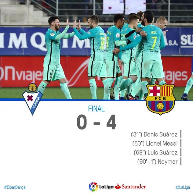 La Liga (Jornada 19): Eibar 0 - FC Barcelona 4