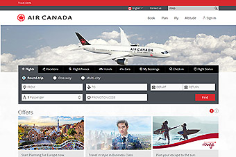 Air Canada sitio web (Amadeus)