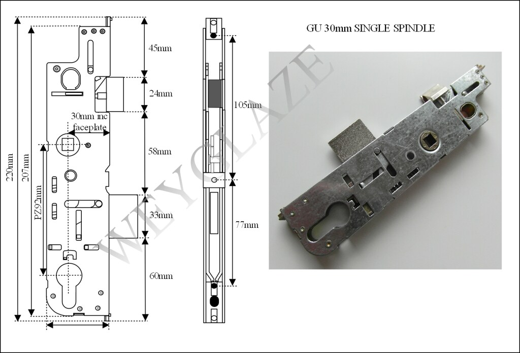 Gu Old Type 30mm Backset Lock Case Gearbox Mechanism For