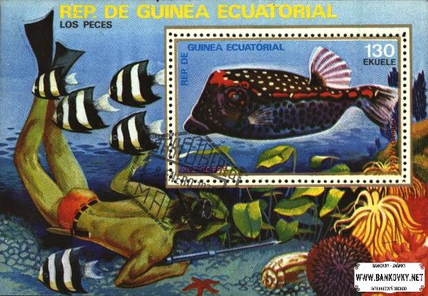 Známky Rovníková Guinea 1979 Ryby, razítkovaný hárček