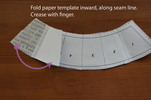 1. Fold first paper rectangle over, along seam
