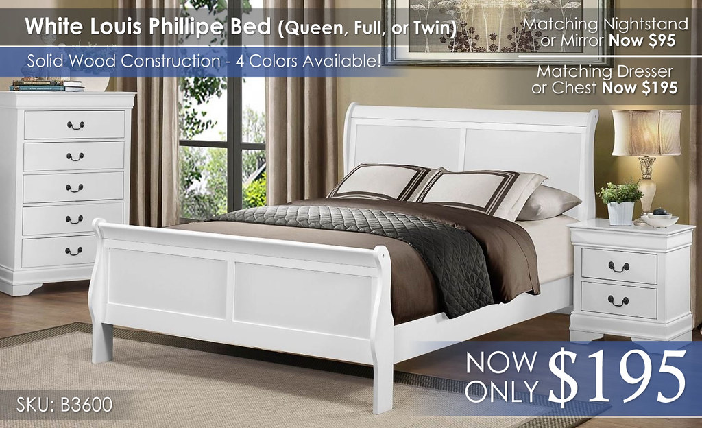Homelegance White Louis Phillipe 3600 Bed Only