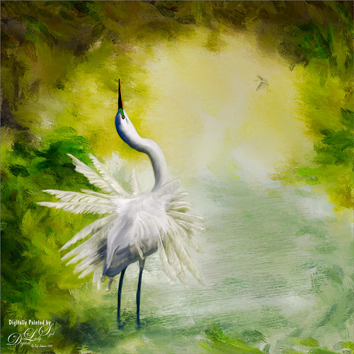Painted image of a Snowy Egret