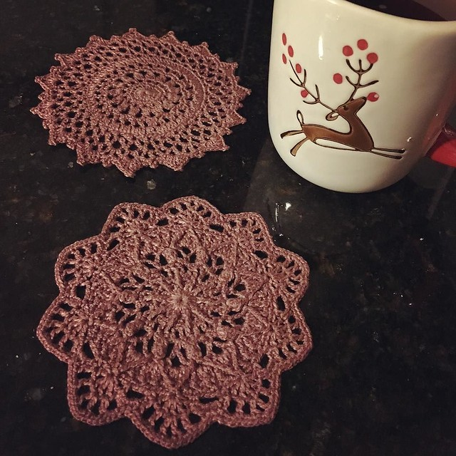 Two tiny coaster-sized doilies. #crochet #doilies