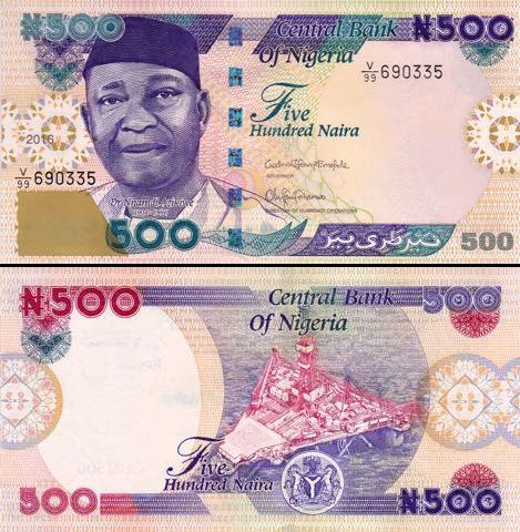 500 Naira Nigéria 2016, P30o