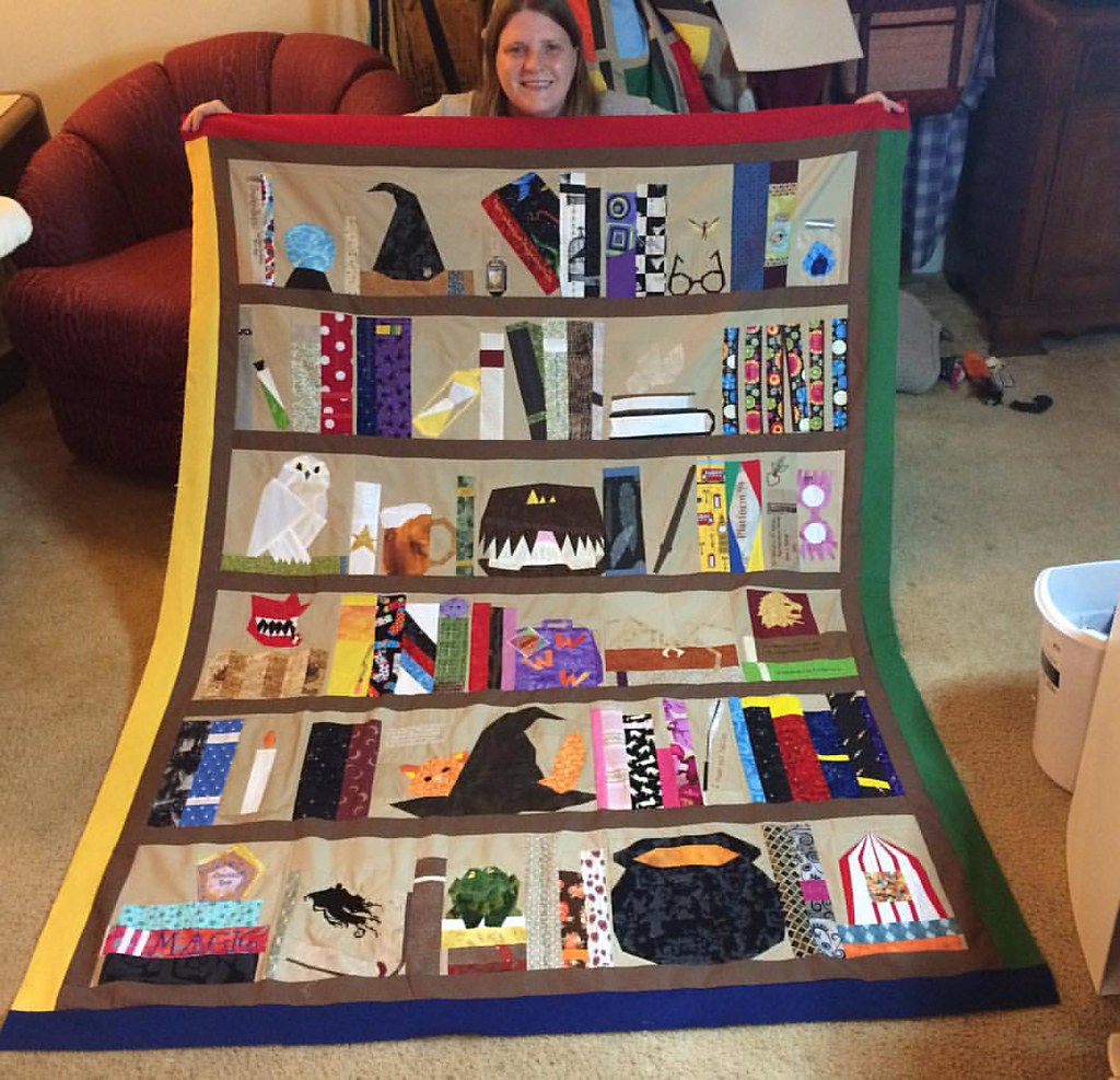 Now To My Harry Potter Bookcase Quilt Top Is Done