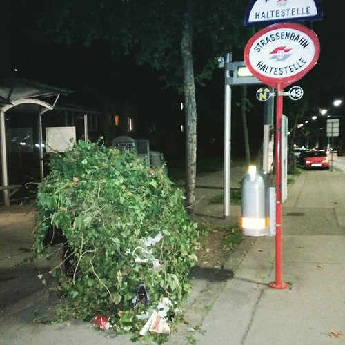 We found a plant monster waiting at the tram station.. #vienna #garbage | by queergeeks