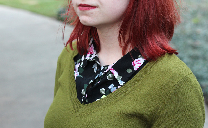 Black Floral Print Top Under an Olive Green Sweater