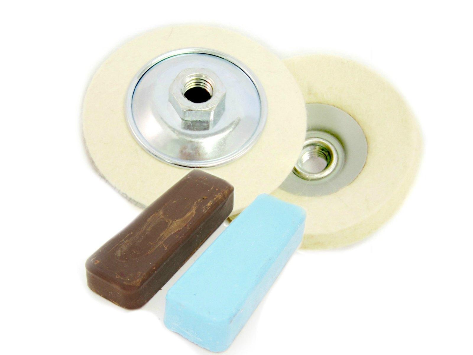angle grinder polishing kit 43 blue and brown compound for polishing aluminium ebay. Black Bedroom Furniture Sets. Home Design Ideas