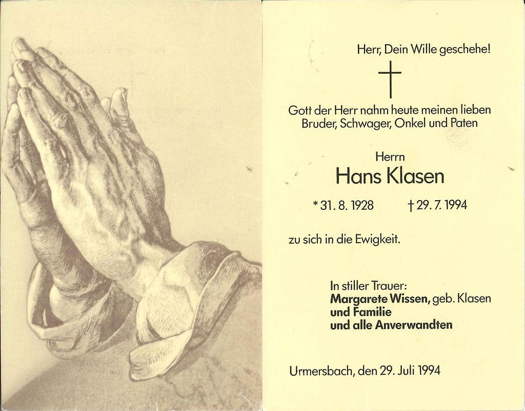 Totenzettel Klasen, Hans † 29.07.1994