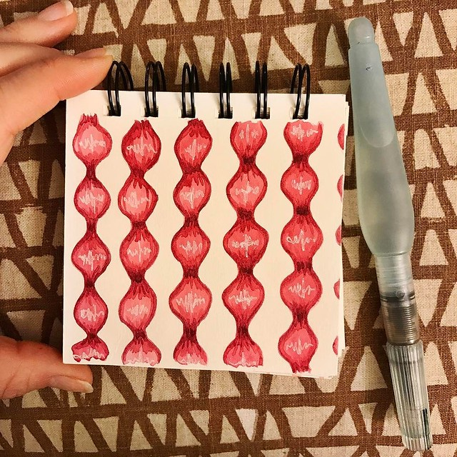 Day 23 #patternjanuary #pomegranate in a #littleartbook. #robayrepatterns