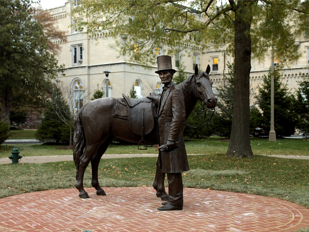 Highsmith, Carol M, photographer. Bronze statue of Abraham Lincoln and his horse at the Lincoln Summer Home located on the grounds of the Armed Forces Retirement Home in northwest Washington, D.C. 2008.
