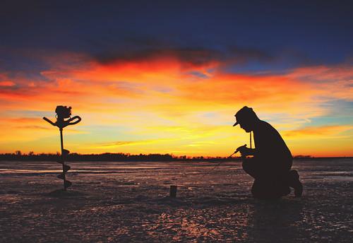 Ice fish sunset taken while ice fishing near waubay sd for Waubay fishing report