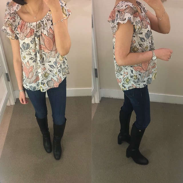 LOFT Shimmer Floral Flutter Off The Shoulder Top, size XSP