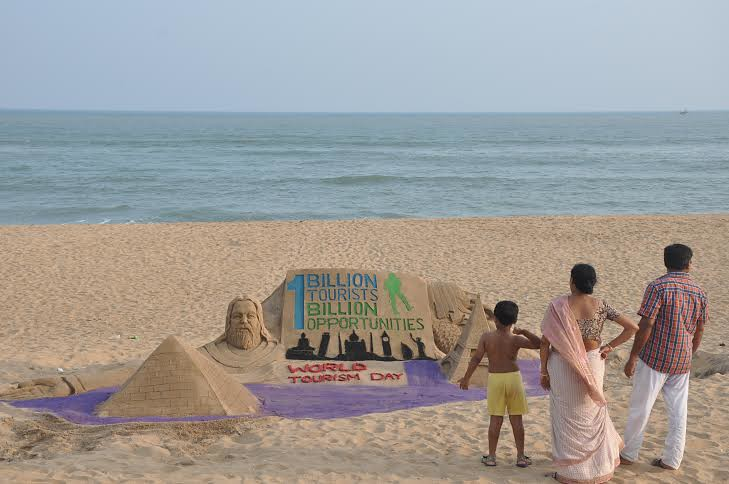 World Tourism Day Sand Sculpture at Puri Beach by Manas Kumar Sahoo