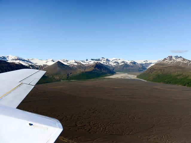 Despegando en avioneta desde el Parque Nacional de Skaftafell en Islandia