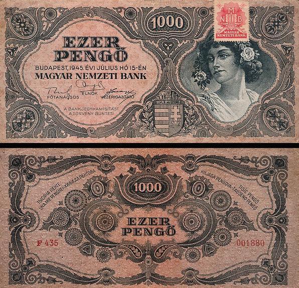 1000 maďarských pengő Maďarsko 1945, P118b