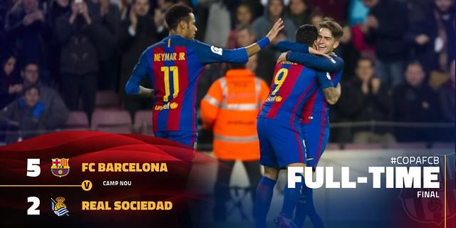 Copa del Rey - Cuartos de Final (Vuelta): FC Barcelona 5 - Real Sociedad 2 (6-2)