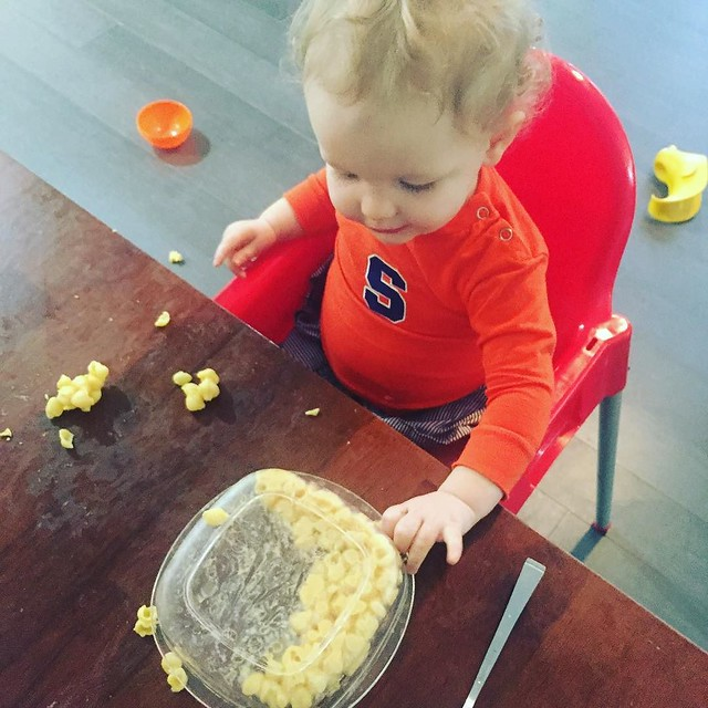 This bowl of macaroni and cheese has kept her entertained far longer than the 10 toys I gave her. So...we will clean up later. #blessthismess #lifewitha16monthold