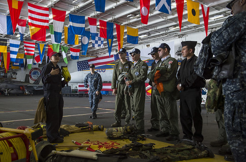 PACIFIC OCEAN (NNS) -- Nuclear-powered aircraft carrier USS George Washington (CVN 73), Carrier Strike Group (CSG) NINE, and embarked Carrier Air Wing TWO hosted several Chilean officers, as part of UNITAS Pacific (PAC).