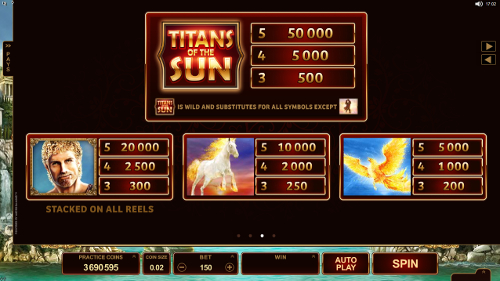 Titans of the Sun - Hyperion Slots Payout Table