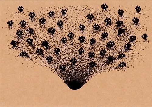 クラフト紙45_深い砂の穴に滑り込む黒プレーン