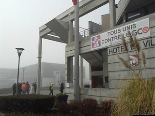 Manif devant la mairie de Vendenheim / enquête parcellaire A4/GCO