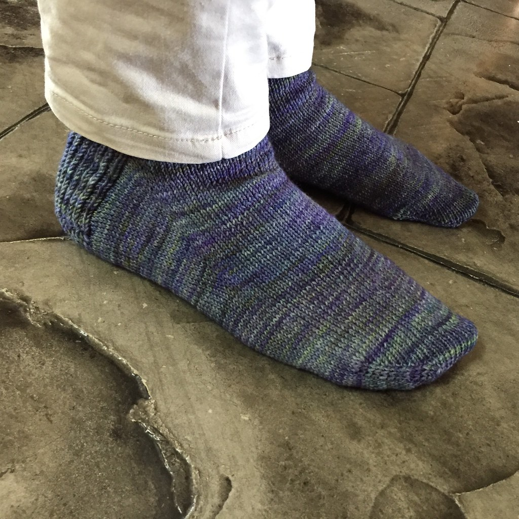 completed pair of vanilla socks in dream in colour everlasting sock heavy 9ply sock in 'morning glory'