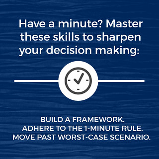 Have a minute? Master these skills to sharpen your decision making: build a framework, adhere to the 1-minute rule, move past worse-case scenario