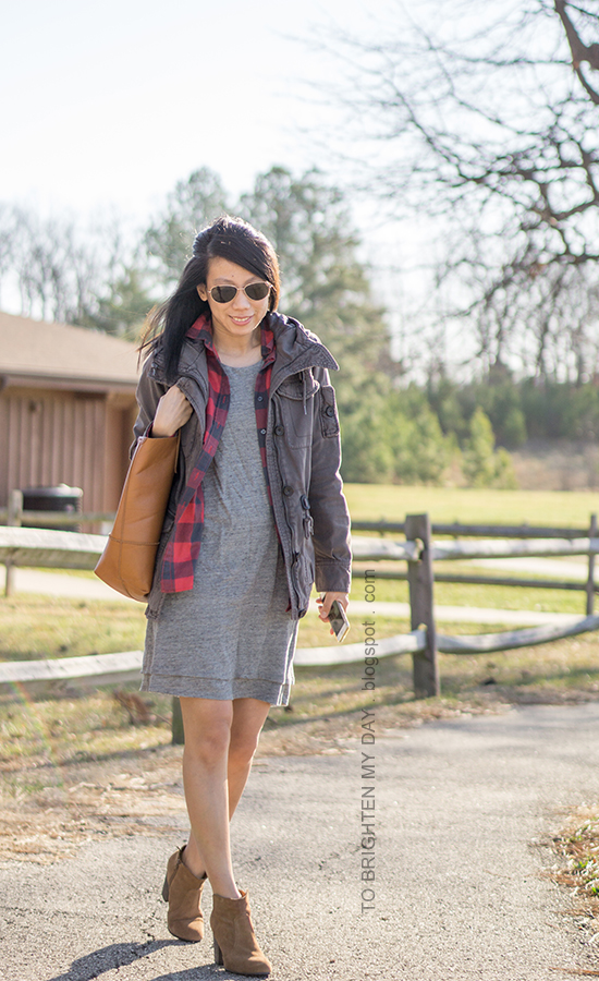 gray military jacket, red buffalo checked flannel shirt, gray tank dress, cognac brown tote, brown suede ankle boots